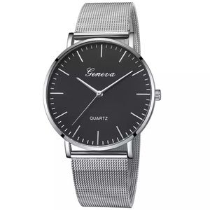 NEW Silver & Black Lux Quartz Watch